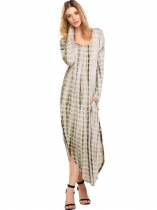 Světle zelená Women Casual Loose Long Sleeve Split Tie Dye Maxi Dress