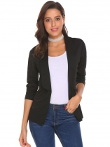 Black Women Casual Business Shawl Collar Long Sleeve Open Front Solid Blazer