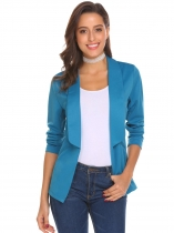 Blue Women Casual Business Shawl Collar Long Sleeve Open Front Solid Blazer