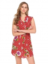 Pattern 4 Women Fashion V-Neck Short Sleeve Dot Floral A-Line Dress