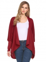 Wine red Women Casual Batwing Long Sleeve Solid Knitwear Open Front Cardigan