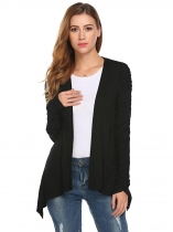 Black Women Casual Ruched Long Sleeve Solid Asymmetrical Short Cardigan