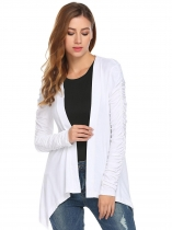 White Women Casual Ruched Long Sleeve Solid Asymmetrical Short Cardigan