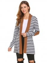 Café Mulheres Casual Luva longa Open Front Striped Contraste Color Cardigan