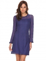 Dark blue Women Fashion O-Neck Long Sleeve Lace Patchwork Straight Dress