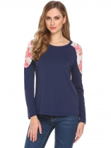 Navy blue Women Casual O-Neck Long Sleeve Patchwork Regular Fit Sexy Blouse T-shirt Tops