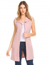 Pink Women Lapel Sleeveless Open Front Casual Long Suit Vest with Belt