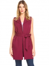 Wine red Women Lapel Sleeveless Open Front Casual Long Suit Vest with Belt