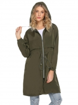 Army green Women Casual Hooded Long Sleeve Zipper Lightweight Slim Waist Coats
