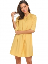 Yellow Women Casual Round Neck Half Sleeve Solid Loose Button Front Tunic Dress