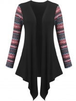 Black Women Casual Long Sleeve Tribal Print Patchwork Open Front Asymmetrical Cardigan