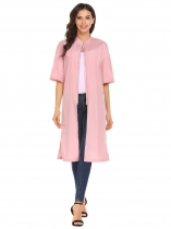 Pink Women Thin O-Neck Half Sleeve Waterproof Long Slit Jackets