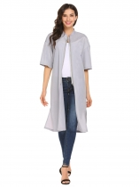 Silver Women Thin O-Neck Half Sleeve Waterproof Long Slit Jackets