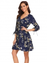 Navy blue Women Fashion V-Neck Long Sleeve Floral Slim Waist A-Line Dress