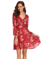 Wine red Femmes Fashion V cou à manches longues Floral Slim taille A Line Dress