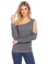 Gray Women Fashion Scoop Neck Long Sleeve Solid Sweatershirt Single Cold Shoulder