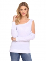 White Women Fashion Scoop Neck Long Sleeve Solid Sweatershirt Single Cold Shoulder