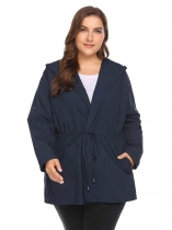 Navy blue Women Wrap Plus Size Hooded Long Sleeve Slim Waist Waterproof Lightweight Coat