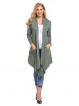 Green Women Casual Long Sleeve Solid Pockets Irregular Hem Cardigan
