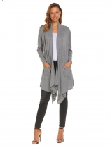 Grey Women Casual Long Sleeve Solid Pockets Irregular Hem Cardigan