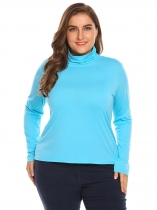 Light blue Women Plus Size Casual Turtleneck Long Sleeve Solid Sweater Base Layer