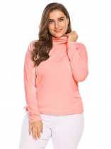 Pink Women Plus Size Casual Turtleneck Long Sleeve Solid Sweater Base Layer
