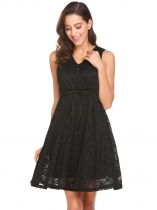 Black Women Casual V-Neck Sleeveless Lace Floral A-Line Pleated Swing Sexy Dress