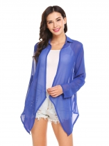 Blue Women Turn Down Collar Roll Up Sleeve Open Front Irregular Chiffon Jacket
