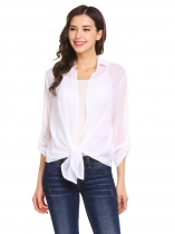 White Women Turn Down Collar Roll Up Sleeve Open Front Irregular Chiffon Jacket