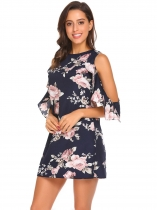 Pattern 3 Women Fashion O-Neck Ruffle Sleeve Floral Loose Straight Casual Dress