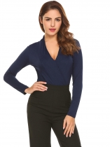 Navy blue Women V-Neck Long Sleeve Cross Front Draped Slim Fit Casual T-Shirt Top