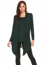 Dark green Women Long Sleeve Solid Draped Irregular Casual Slim Fit Blouse Top w/ Belt