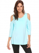 Light blue Women V-Neck 3/4 Sleeve Cold Shoulder Breastfeeding T-shirt Tops Blouse