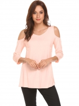 Pink Women V-Neck 3/4 Sleeve Cold Shoulder Breastfeeding T-shirt Tops Blouse