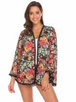 Black Women Long Sleeve Floral Chiffon Cardigan Beach Cover-up