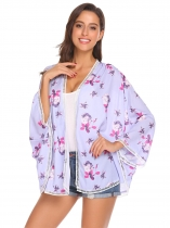 Light purple Women Long Sleeve Floral Chiffon Cardigan Beach Cover-up