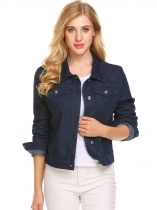 Dark blue Women Basic Long Sleeve Button Down Denim Jacket