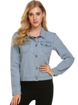 Light blue Women Basic Long Sleeve Button Down Denim Jacket