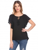 Black Women Batwing Short Sleeve Solid Chiffon Blouse