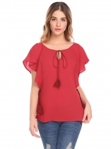 Wine red Women Batwing Short Sleeve Solid Chiffon Blouse