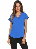 Royal Blue Women V-Neck Short Sleeve Loose Top Shirts Lace Trim Asymmetric Hem Blouse