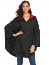 Black Women Casual Cloak Hooded Solid Lightweight Waterproof Raincoat Jacket