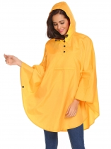 Yellow Women Casual Cloak Hooded Solid Lightweight Waterproof Raincoat Jacket
