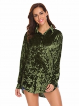 Green Women Long Sleeve Casual Loose Velvet Short Shirt Tops