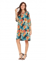 Verde Mulheres O-Neck Keyhole Puff Sleeve Floral Asymmetrical Casual Loop Fit Dress