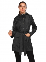 Black Lightweight Hooded Raincoat Outdoor Casual Waterproof Jacket w/ Belt