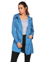 Blue Lightweight Hooded Raincoat Outdoor Casual Waterproof Jacket w/ Belt