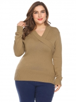 Khaki Women Shawl Collar Long Sleeve Solid Casual Pullover Sweater Plus Size