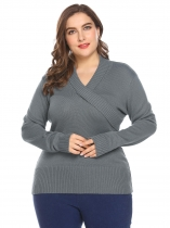 Blue gray Women Shawl Collar Long Sleeve Solid Casual Pullover Sweater Plus Size