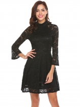 Noir Femmes Vintage Style Flare manches Floral Lace Swing Party Dress